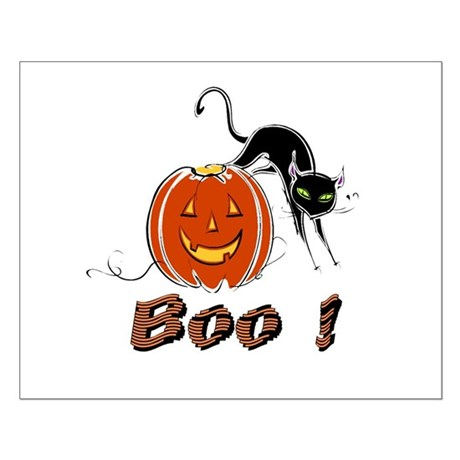 Halloween Pumpkin and Cat Small Poster