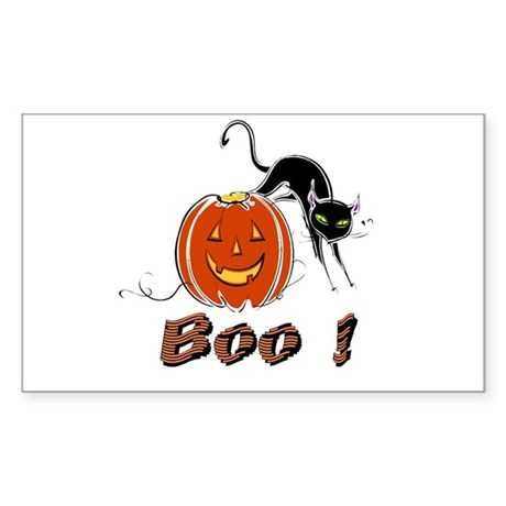 Halloween Pumpkin and Cat Rectangle Sticker