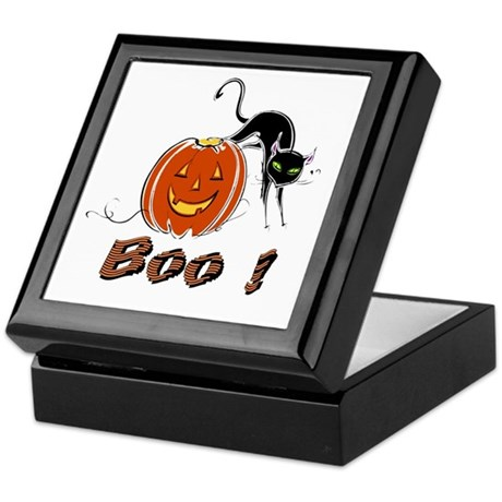 Halloween Pumpkin and Cat Keepsake Box