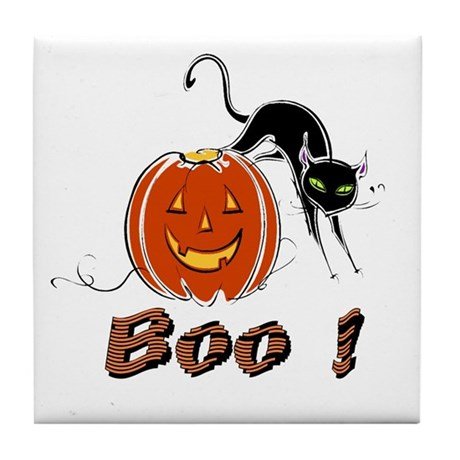 Halloween Pumpkin and Cat Tile Coaster