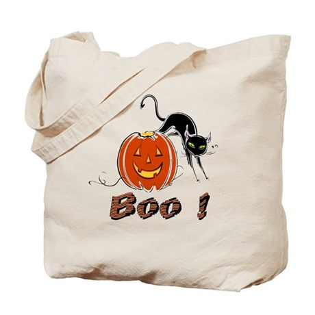 Halloween Pumpkin and Cat Tote Bag