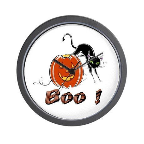 Halloween Pumpkin and Cat Wall Clock