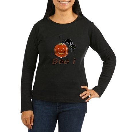 Halloween Pumpkin and Cat Women's Long Sleeve Dark