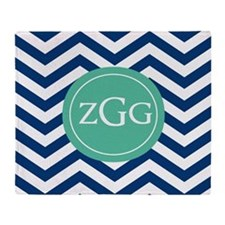 Navy Green Chevron Monogram Throw Blanket