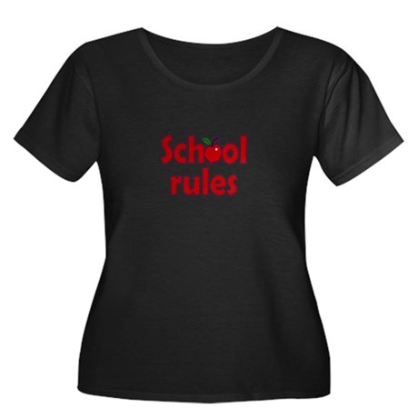 School Rules Women's Plus Size Scoop Neck Dark T-S