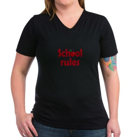 School Rules Women's V-Neck Dark T-Shirt