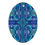 Blue Stained Glass Cross Oval Ornament