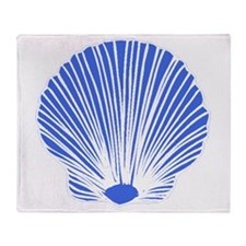 Blue Sea Shell Throw Blanket