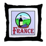 France Wine and Grapes Throw Pillow