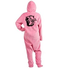 Black and White Dragon Letter C Footed Pajamas