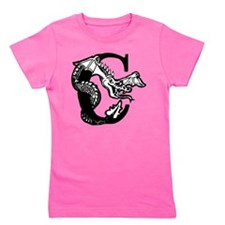 Black and White Dragon Letter C Girl's Tee