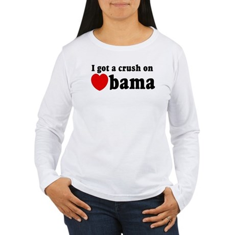 I got a crush on Obama (red h Women's Long Sleeve 
