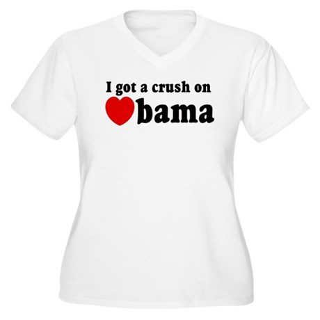 I got a crush on Obama (red h Women's Plus Size V-