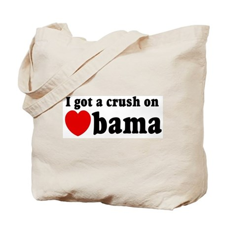 I got a crush on Obama (red h Tote Bag