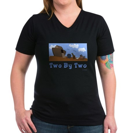 Noah's Ark Two By Two Women's V-Neck Dark T-