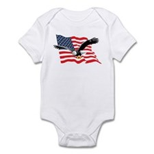 Bald Eagle and US Flag v2 Infant Bodysuit
