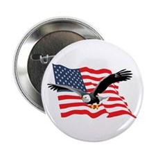 "Bald Eagle and US Flag v2 2.25"" Button (10 pack)"