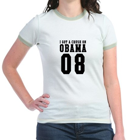 I Got a Crush on Obama 08 Jr. Ringer T-Shirt