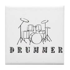 Drummer with Drumset Tile Coaster