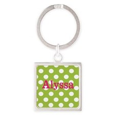 Green Pink Dots Personalized Keychains