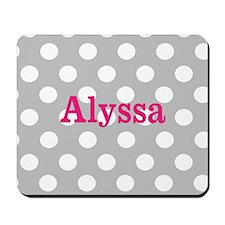 Gray Pink Dots Personalized Mousepad