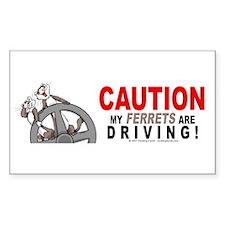 Caution My Ferrets Are Driving Sticker (Rectangula