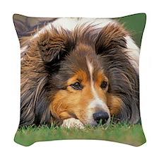 Sheltie portrait Woven Throw Pillow