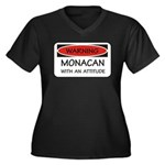 Attitude Monacan Women's Plus Size V-Neck Dark T-S
