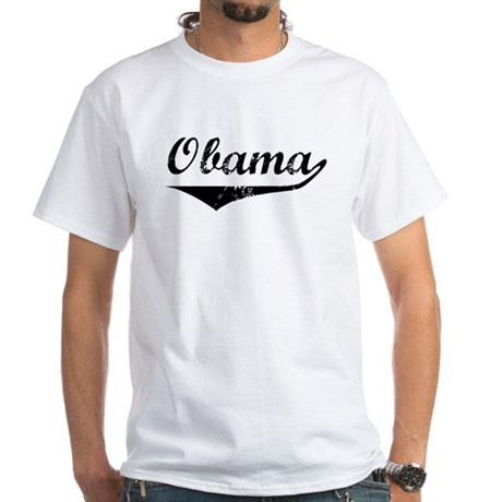 Obama (vintage-black) White T-Shirt
