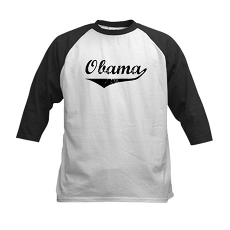 Obama (vintage-black) Kids Baseball Jersey