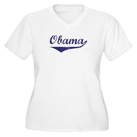 Obama (vintage-blue)  Women's Plus Size V-Neck T-S