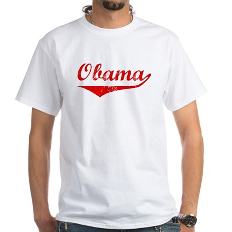 Obama (vintage-red) White T-Shirt