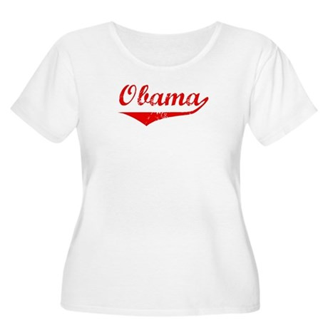 Obama (vintage-red) Women's Plus Size Scoop Neck T