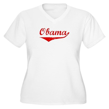 Obama (vintage-red) Women's Plus Size V-Neck T-Shi