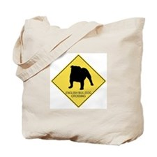 English Bulldog crossing Tote Bag