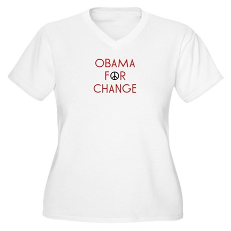 Obama For Change  Women's Plus Size V-Neck T-Shirt