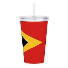 Timor-Leste Flag Acrylic Double-Wall Tumbler