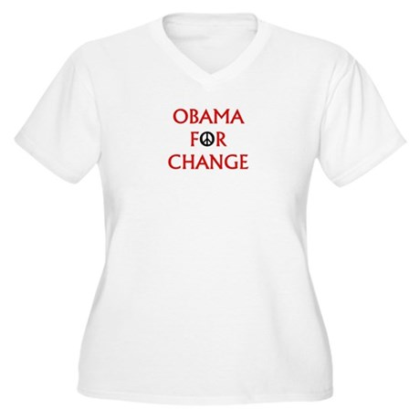 Obama for Change (Peace) Women's Plus Size V-Neck 