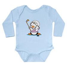 Ice Hockey Penguin Long Sleeve Infant Bodysuit
