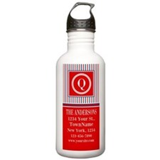 Red White Blue Monogra Water Bottle
