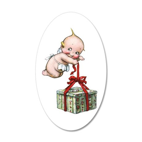 Merry Christmas Cupie 35x21 Oval Wall Decal