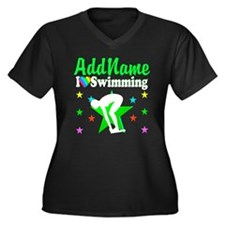 AWESOME SWIM Women's Plus Size V-Neck Dark T-Shirt