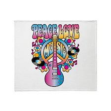 Peace Love & Music Throw Blanket