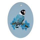 Blue Masked Lovebird Oval Ornament