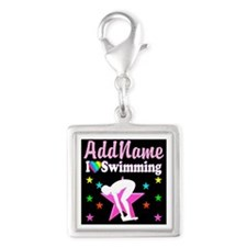 AWESOME SWIMMER Silver Square Charm