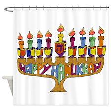 Happy Hanukkah Dreidel Menorah Shower Curtain