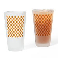 ORANGE AND WHITE Checkered Pattern Drinking Glass