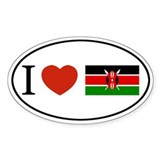 I love Kenya Oval Decal
