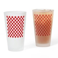RED AND WHITE Checkered Pattern Drinking Glass