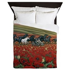 Poppy Fields Bikers and Wild Horses Painting Queen